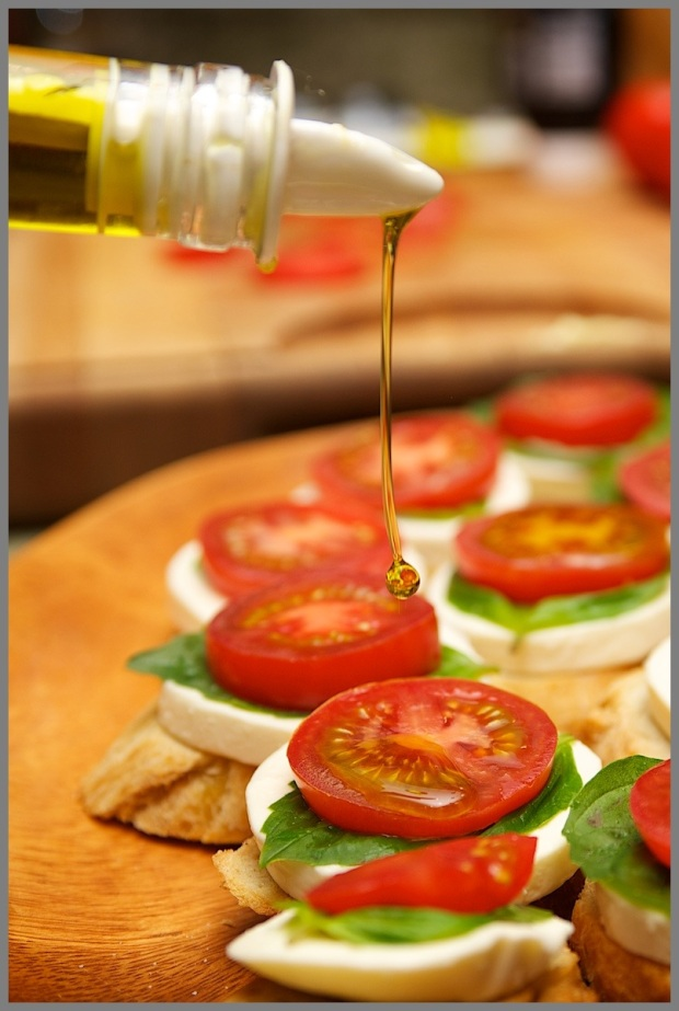 Bruschetta olive oil drip drop bottle