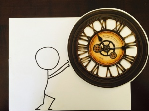 stick person and clock art